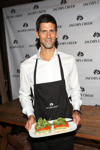 Novak Djokovic serves up a perfect match at the Jacob's Creek Our Table event on August 25 at Refinery Rooftop in New York City (PRNewsFoto/Jacob's Creek)